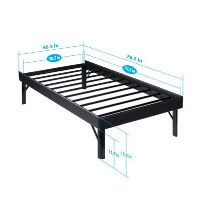 SF-3000 Faux Leather Side Guard Steel Slat Bed Frame Size: Twin