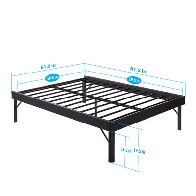 SF-3000 Faux Leather Side Guard Steel Slat Bed Frame Size: Queen