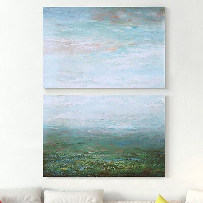 'Abstract of Grassland' Oil Painting Print Multi-Piece Image Wrapped on Canvas