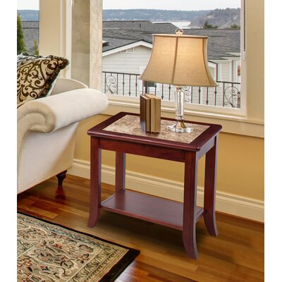 Chisholm Natural Marble Top Wood End Table Top Finish: Crema Cappuccino, Base Finish: Light Brown
