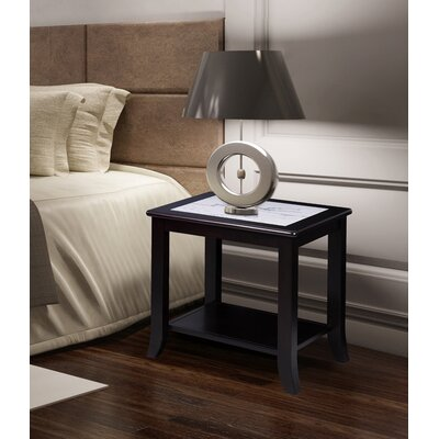 Christopher Natural Marble Top Wood End Table Top Color: Calacatta, Base Color: Black/White