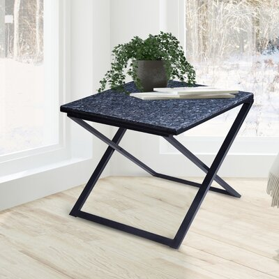 Rhodell Granite Top Metal Frame End Table Color: Blue/Black
