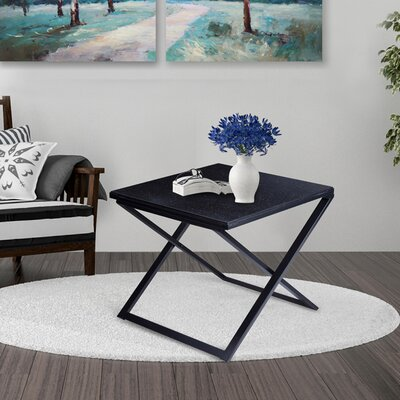 Rhodell Granite Top Metal Frame End Table Color: Black