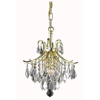 Amelia 3-Light Crystal Pendant Finish: Gold