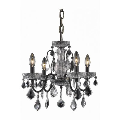 Calista 4-Light Crystal Chandelier Finish: Dark Bronze
