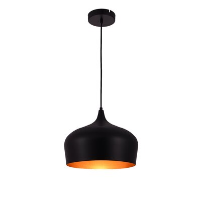 1-Light Inverted Pendant Finish: Black/Gold