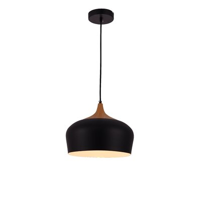 1-Light Inverted Pendant Finish: Black/White