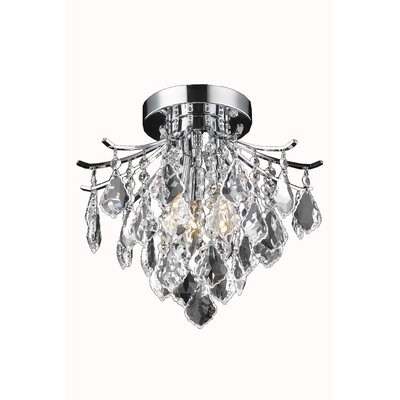 Amelia 3-Light Semi Flush Mount Finish: Chrome, Size: 12 H x 12 W x 12 D