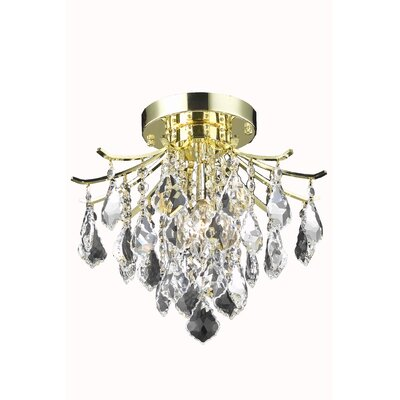 Amelia 3-Light Semi Flush Mount Finish: Gold, Size: 12 H x 16 W x 16 D