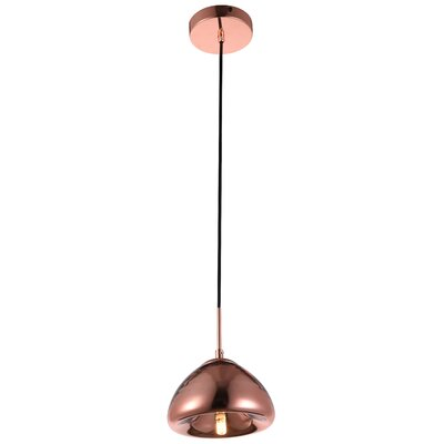 Reflection 1-Light Mini Pendant Shade Color: Copper, Size: 71.5 H x 7 W x 7 D