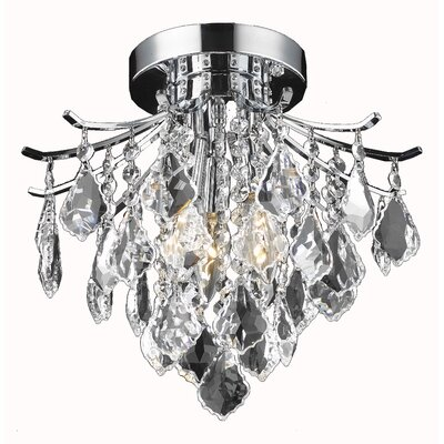 Amelia 3-Light Semi Flush Mount Finish: Gold, Size: 12 H x 12 W x 12 D