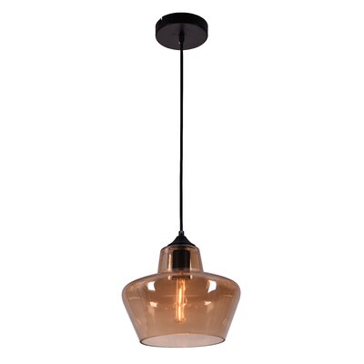 Collins 1-Light Schoolhouse Pendant Shade Color: Amber