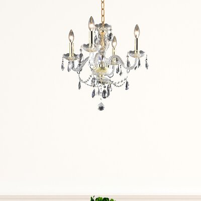 Elle 4-Light Crystal Chandelier Finish: Gold
