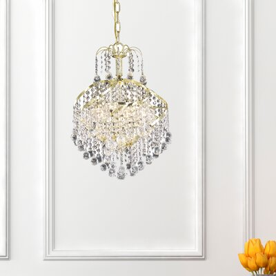 Avery 3-Light Crystal Pendant Finish: Gold