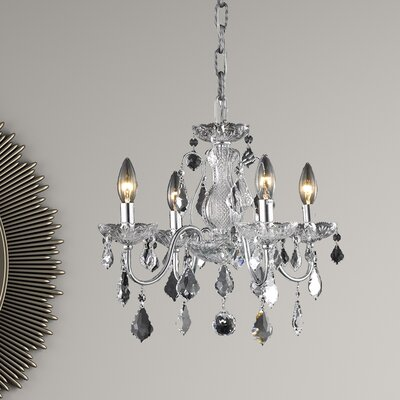 Calista 4-Light Crystal Chandelier Finish: Chrome