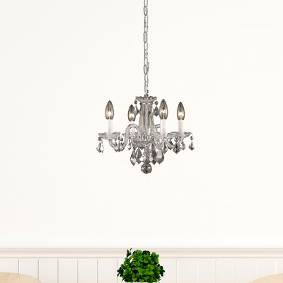 Azalea 4-Light Crystal Chandelier Finish: Chrome