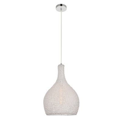 Teegan 1-Light Inverted Pendant Color: Chrome/Clear