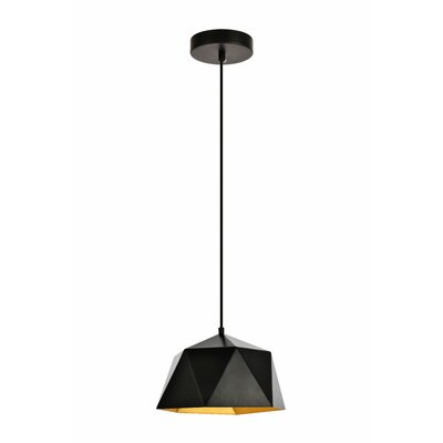Mullican 1-Light Inverted Pendant Finish: Black/Gold, Size: 67 H x 10.2 W x 10.2 D