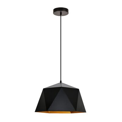Mullican 1-Light Inverted Pendant Finish: Black/Gold, Size: 70 H x 15 W x 15 D