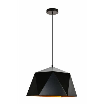 Mullican 1-Light Inverted Pendant Finish: Black/Gold, Size: 71 H x 17.7 W x 17.7 D