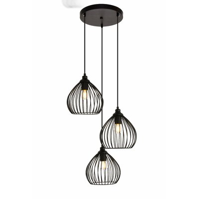 Mullin 3-Light Cluster Pendant Finish: Black