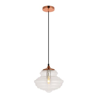 Templin 1-Light Schoolhouse Pendant Color: Copper/Clear