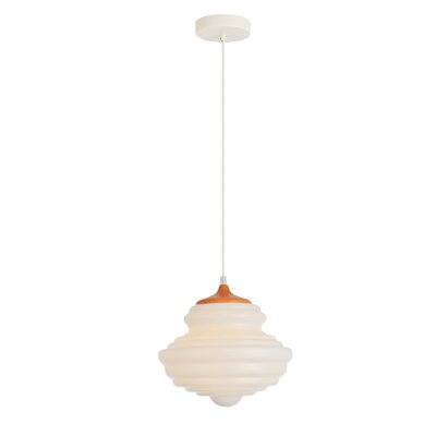 Templin 1-Light Schoolhouse Pendant Finish: Grain/White