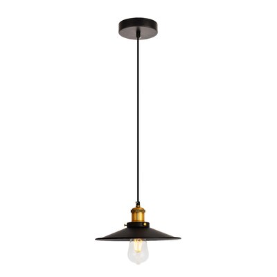 Glencourt 1-Light Mini Pendant Color: Black/Brass