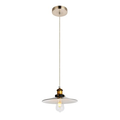Glencourt 1-Light Mini Pendant Color: Burnished Nickel/Brass/White