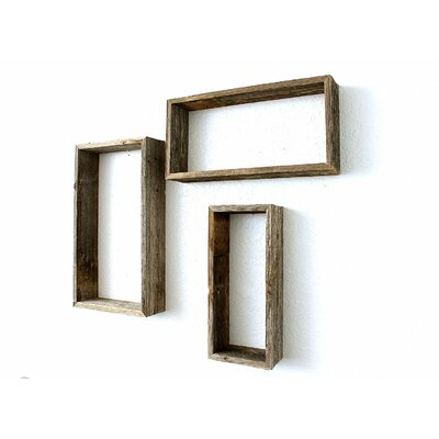 100% Reclaimed Wood Rustic Open Rectangle 3 Piece Floating Shelf Set