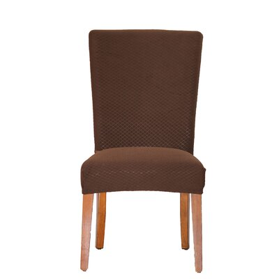 Vivian Stretch Polyester Dining Chair Slipcover Upholstery: Brown