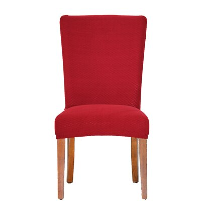 Vivian Stretch Polyester Dining Chair Slipcover Upholstery: Burgundy
