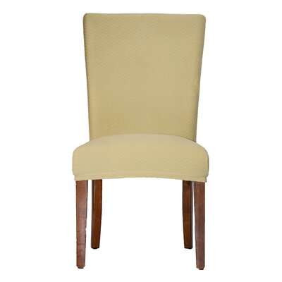 Vivian Stretch Polyester Dining Chair Slipcover Upholstery: Beige