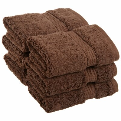 Superior Hugo 6 Pieces Washcloth Towel Set Color: Chocolate