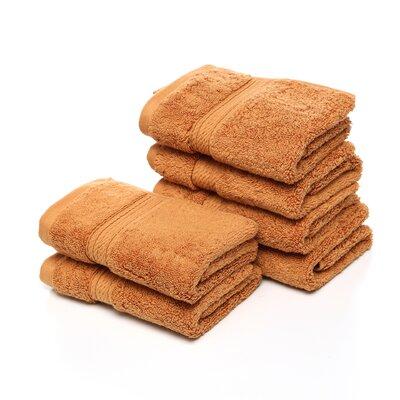 Superior Hugo 6 Pieces Washcloth Towel Set Color: Rust