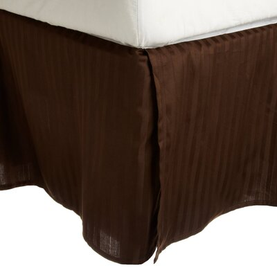 300 Thread Count Quality Cotton Stripe Bed Skirt Color: Mocha, Size: Queen