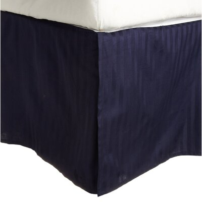 300 Thread Count Quality Cotton Stripe Bed Skirt Color: Navy Blue, Size: Queen