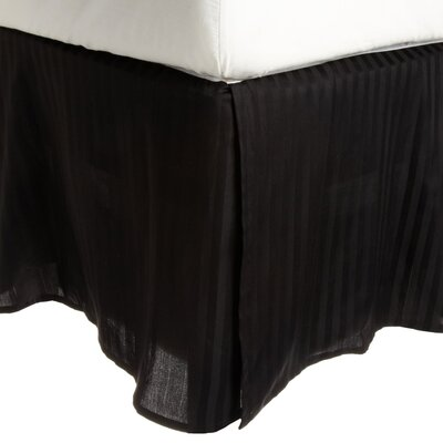 300 Thread Count Quality Cotton Stripe Bed Skirt Color: Black, Size: Queen
