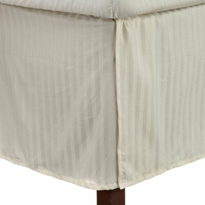 300 Thread Count Quality Cotton Stripe Bed Skirt Color: Ivory, Size: Queen