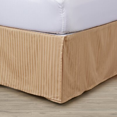300 Thread Count Quality Cotton Stripe Bed Skirt Color: Beige, Size: Queen