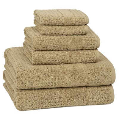 Turkish Cotton 6 Piece Towel Set Color: Almond