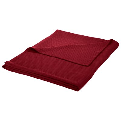 100% Cotton Blanket Size: Full / Queen, Color: Burgundy
