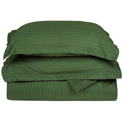Stripe Duvet Cover Set Size: Full / Queen, Color: Hunter Green