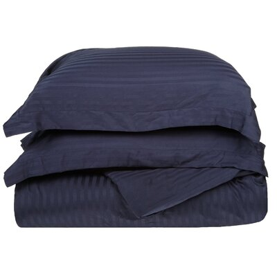Stripe Duvet Cover Set Size: Full / Queen, Color: Navy Blue