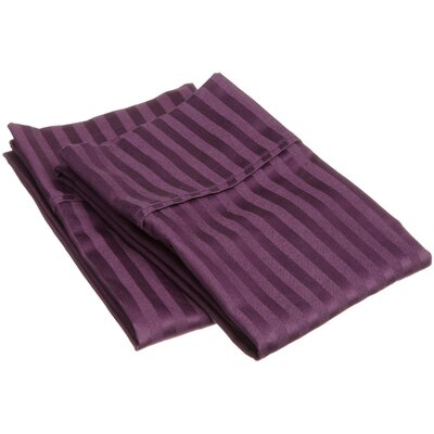 Holeman 300 Thread Count Stripe Pillowcase Pair Size: King, Color: Plum