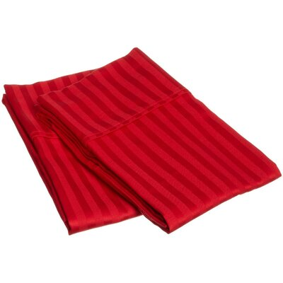 Holeman 300 Thread Count Stripe Pillowcase Pair Size: Standard, Color: Red