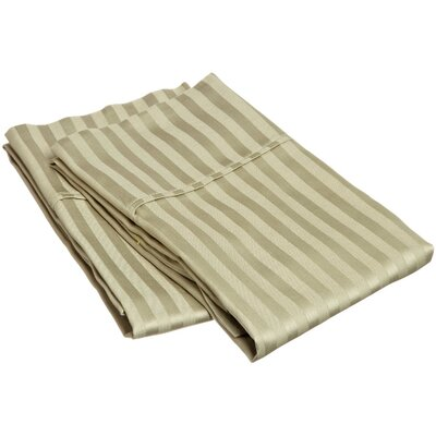 300 Thread Count Stripe Pillowcase Pair Size: King, Color: Sage