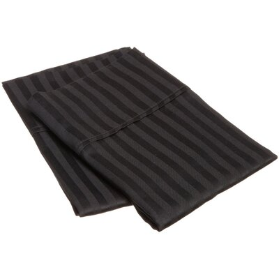 300 Thread Count Stripe Pillowcase Pair Size: King, Color: Black