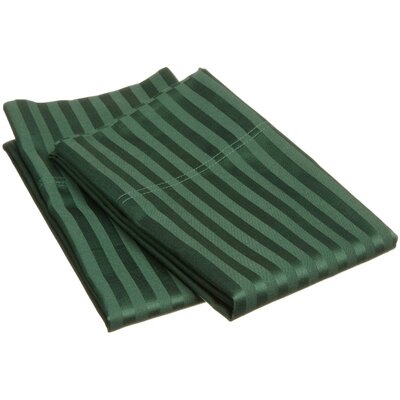 300 Thread Count Stripe Pillowcase Pair Size: King, Color: Hunter Green