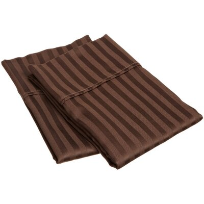 400 Thread Count Stripe Pillowcase Size: King, Color: Mocha